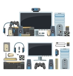 Computer technology objects isolated in white vector