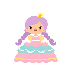 cute little fairytale princess girl with golden vector image