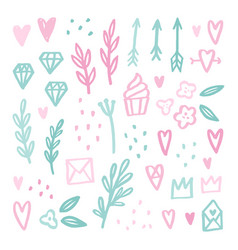 Cute romantic doodle drawings vector