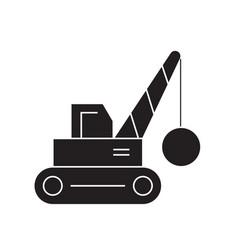 Demolition crane black concept icon vector