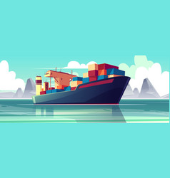 Dry-cargo ship at sea loaded boat vector