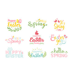 Easter and spring hand drawn colored lettering vector
