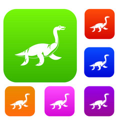 elasmosaurine dinosaur set color collection vector image