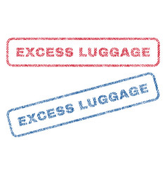 Excess luggage textile stamps vector