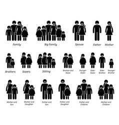 family and people icons stick figure pictograms vector image