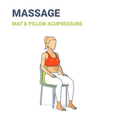 Female siting on chair on an acupressure mat vector