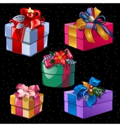 Five boxes of different colors and shapes vector image