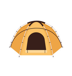 Front view canvas tent with dome-shaped roof vector
