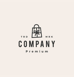 gift shop shopping bag hipster vintage logo icon vector image