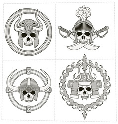 Grayscale skull ornament vector