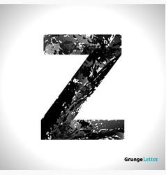 grunge letter z black font sketch style symbol vector image