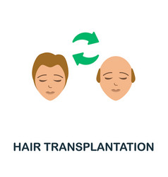 Hair transplantation flat icon colored sign from vector