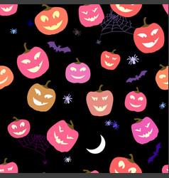 Halloween pattern pumpkins and spiders horror vector