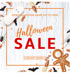 halloween sale background with treats vector image