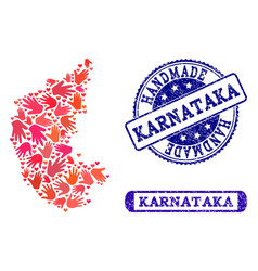 Handmade composition of map of karnataka state and vector