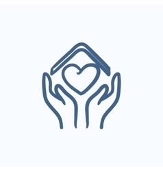 Hands holding roof of house and heart sketch icon vector