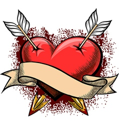 heart pierced arrows vector image