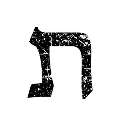 Hebrew letter Tav Shabby black font The Hebrew vector image