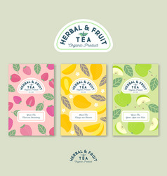 herbal and fruit tea logo label pattern vector image
