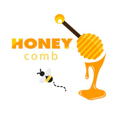 honeycomb bee honey dipper white background vector image