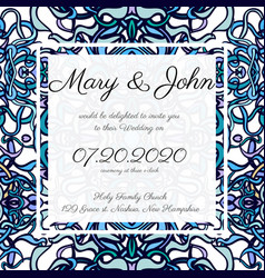 Invitation card template with openwork pattern vector