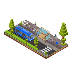 isometric bus stop cross section vector image