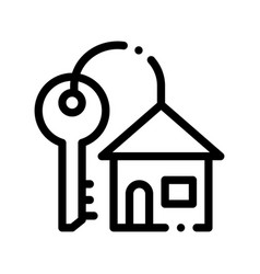 key with keyfob in building form sign icon vector image