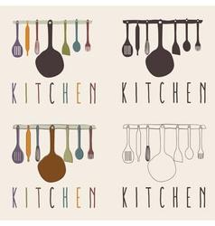 kitchen utensils set design template vector image