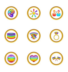 Lgbt community icons set cartoon style vector