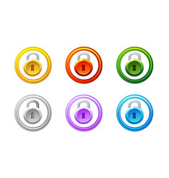 lock icon in different colors gui level vector image