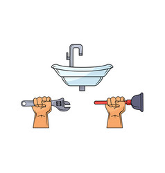 man hand holding wrench plunger sink vector image