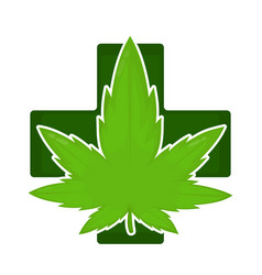 Marijuana weed green leaf in pharmacy cross vector