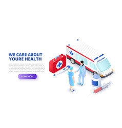 medical concept with ambulance car and doctors vector image