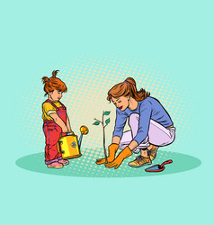 mother and daughter working in the garden vector image