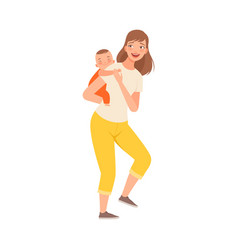 Mother toys with baand hold on her back vector