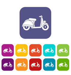 Motorbike icons set vector
