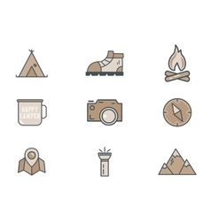 Mountain explorer camp icons in flat style Travel vector image