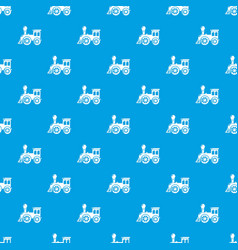 Old train pattern seamless blue vector
