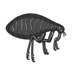 Parasitizing flea single icon in monochrome style vector