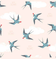 Pattern swallow birds with hearts vector