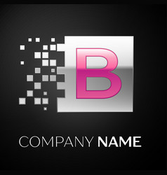 pink letter b logo symbol in the silver square vector image