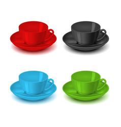 realistic detailed 3d color tea cup set vector image
