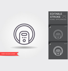 robot vacuum cleaner line icon with editable vector image