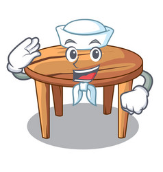 Sailor character wooden table in the restaurant vector