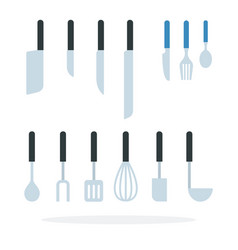 set knives cutlery items and kitchen tools in vector image