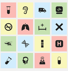 Set of 16 editable hospital icons includes vector