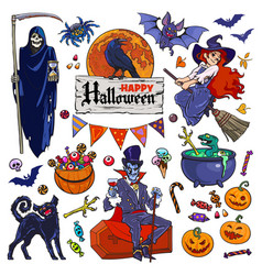 Set of halloween cartoon characters and objects vector