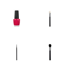 set of maquillage realistic symbols with nail vector image