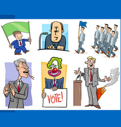 Set of politics and politician cartoon concepts vector
