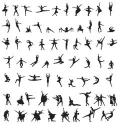 Set silhouettes ballet dancers vector